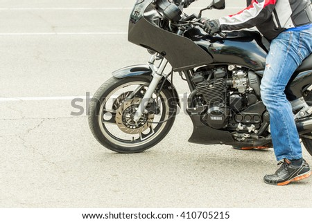 Shymkent, KAZAKHSTAN - April 23, 2016: Motorcyclists at the opening of bike season in Shymkent, 23 April 2016