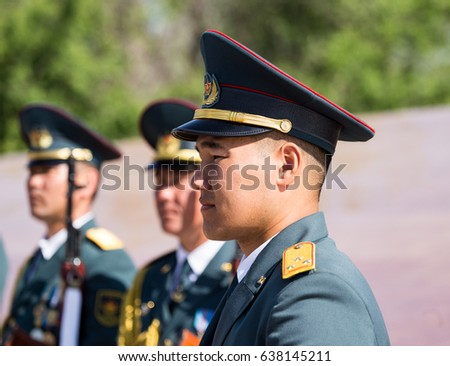 Shymkent, KAZAKHSTAN - May 9, 2017: Military soldiers on the Victory Day of the Red Army and Soviet people in the Great Patriotic War of 1941-1945