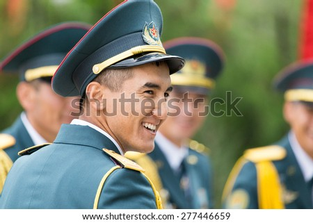 SHYMKENT , KAZAKHSTAN MAY 9, 2015: Victory Day in memory of the soldiers of the Great Patriotic War. Victory Day celebration in the city of Shymkent, Kazakhstan May 9, 2015