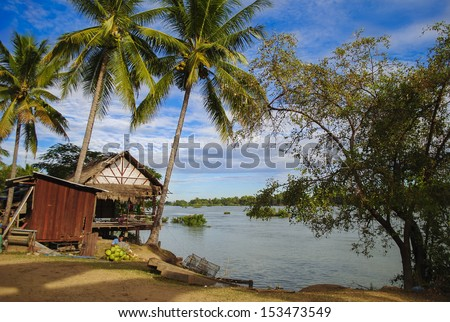 Si-Phan-Don (Four Thousand Islands) is a group of islands in the Mekong River in Southern Laos.  - stock photo
