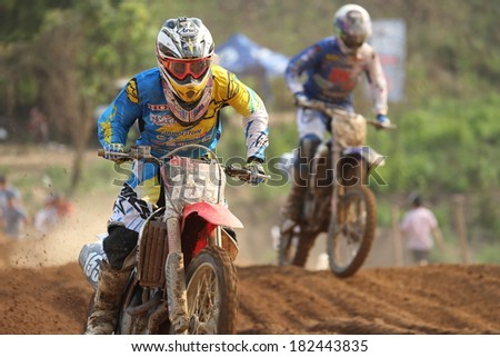 SI RACHA, THAILAND - MAR. 9 : Otsuka Gota (155), Japanese racer in action of MX2 race during The FIM Motocross World Championship Grandprix of Thailand, on March 9, 2014. Si Racha, Chonburi, Thailand.