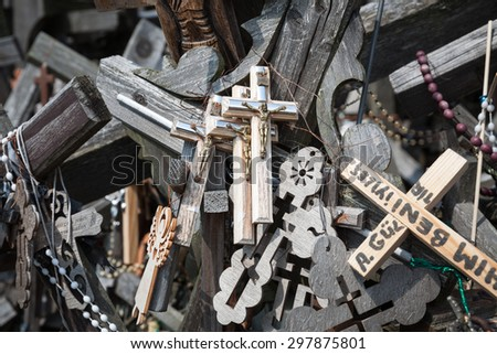 SIAULIAI, LITHUANIA - JUL 12, 2015: Hill of Crosses is a unique monument of history and religious folk art and the most important Lithuanian Catholic pilgrimage site