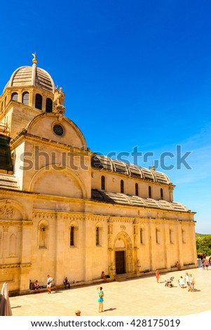 SIBENIK, CROATIA - AUG 26, 2014:  Cathedral of St. James  is a triple-nave basilica in Sibenic, Croatia. It is a UNESCO World Heritage Site
