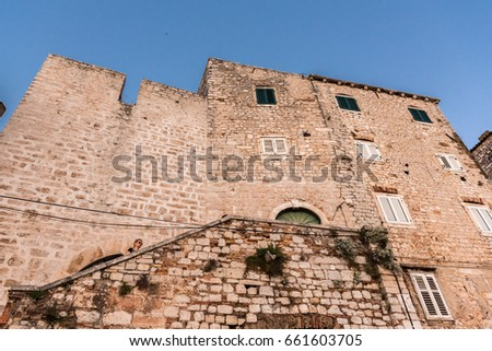 SIBENIK, CROATIA-May 26,2017: View of Sibenik that is popular with its mediterranean narrow streets and historic traditional architecture.Sibenik is a european travel destination in Croatia, Europe.