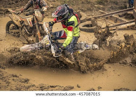 SIBIU, ROMANIA - JULY 16: A competitor at Red Bull ROMANIACS Hard Enduro Rally  the hardest enduro rally in the world. July 12-16, 2016