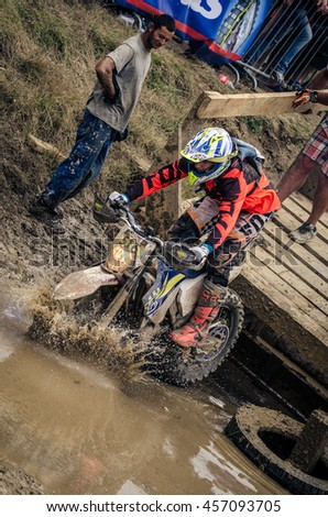 SIBIU, ROMANIA - JULY 16:  Muddy competitor at Red Bull ROMANIACS Hard Enduro Rally the hardest enduro rally in the world. July 12-16, 2016