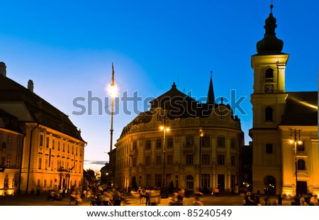 Sibiu town square at blue hour