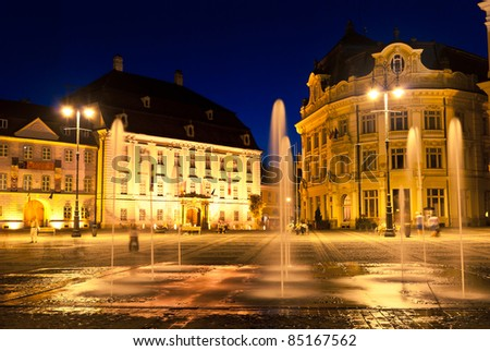 Sibiu town square with fountain at blue hour