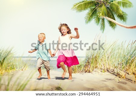 Sibling Happiness Summer Beach Vacations Concept - stock photo