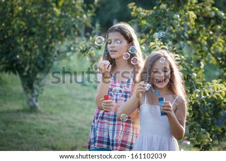Siblings blowing soap bubbles - stock photo