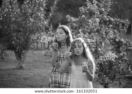 Siblings blowing soap bubbles. black and white - stock photo