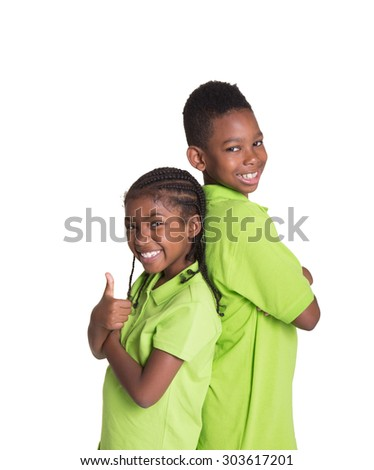 Siblings bonding isolated on white