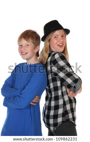 Siblings in front of a white background - stock photo