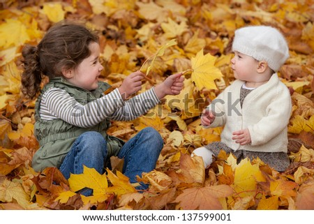 Siblings play in the autumn leaves