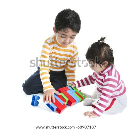 Siblings Playing with Blocks, Isolated, White - stock photo