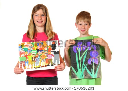 Siblings with children paintings - stock photo