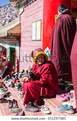 SICHUAN, CHINA - NOV 12 2015: Larung Gar(Larung Five Sciences Buddhist Academy). a famous Lamasery in Seda, Sichuan, China.