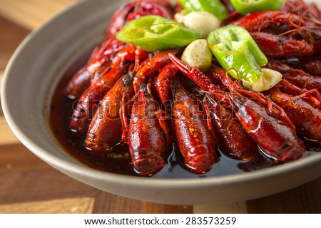 Sichuan spicy crayfish - stock photo