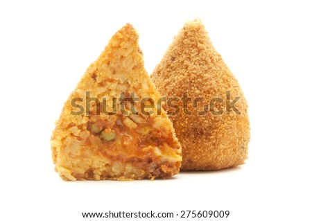 Sicilian conical shaped arancini on a white background
