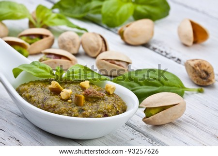 sicilian pistachio pesto sauce with basil and olive oil - stock photo