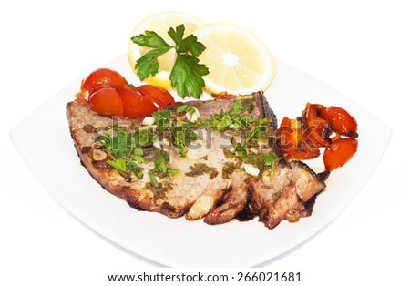 Sicilian red tuna fillet with cherry tomatoes, parsley, lemon, olive oil isolated on white background - stock photo