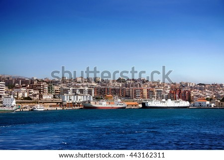 Sicily channel, Villa S. Giovanni, ferryboats that connect Sicily to the italian peninsula crossing the Sicily, Calabria, Italy, Europe  - stock photo