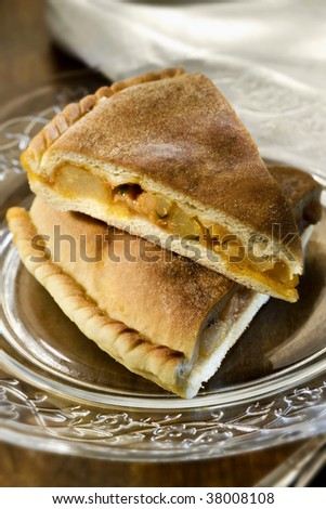 Sicily - Italy . A tipical potato pie on a glass plate - stock photo