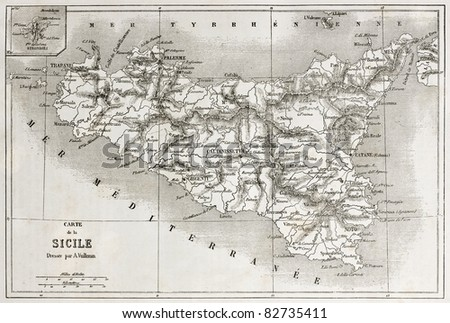 Sicily old map with Stromboli isle insert map. Created by Vullemin and Erhard, published on Le Tour du Monde, Paris, 1860 - stock photo