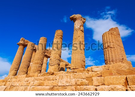Sicily. Temple of Hercules, greek Doric style temple in the ancient city of Akragas, located in the Valle dei Templi in Agrigento. Italy - stock photo