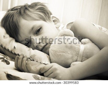 Sick boy - stock photo