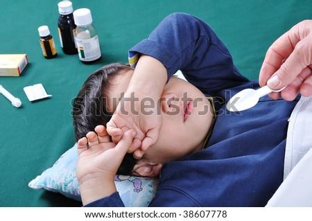 Sick boy - stock photo