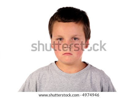 Sick boy child with red eyes and red spots all over him - stock photo
