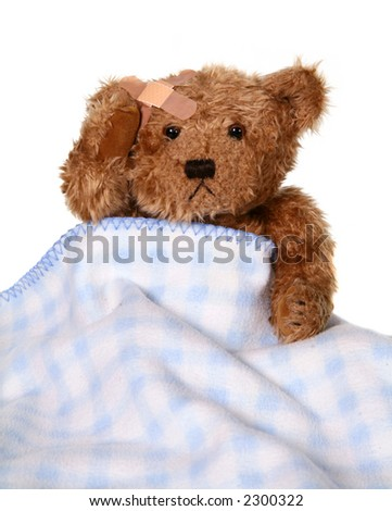 Sick Brown Teddy Bear Holding Injured Head - stock photo