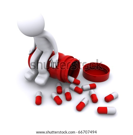 sick 3d character sitting on pill pot. isolated - stock photo