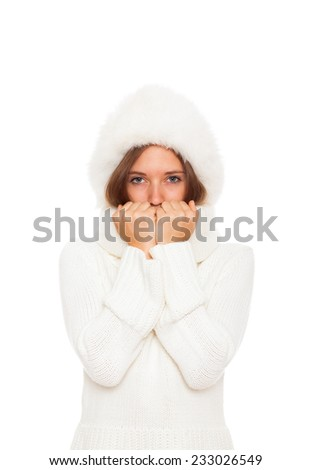 sick girl got flu or cold, cover mouth by hold hand, wear wear winter sweater hat scarf, isolated over white background - stock photo