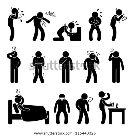 Sick ill Fever Flu Cold Sneeze Cough Vomit Disease Stick Figure Pictogram Icon - stock photo