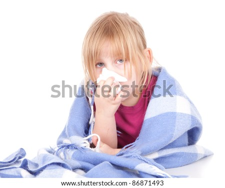 sick little blond hair girl with flu, white background