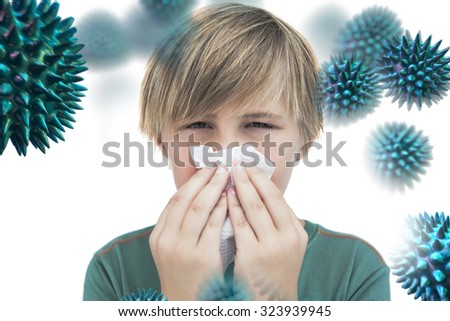 Sick little boy with a handkerchief against virus
