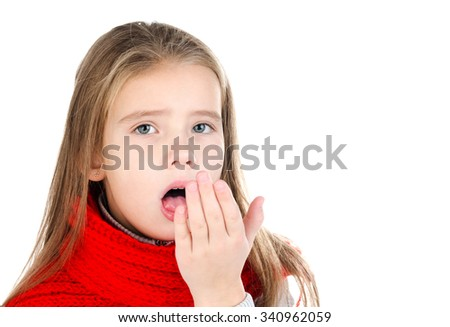 Sick little girl in red scarf coughing isolated on a white background - stock photo