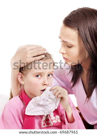 Sick little girl with handkerchief in bed. - stock photo