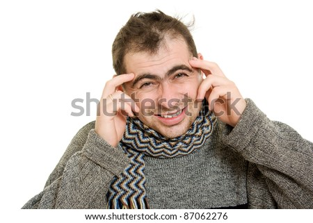 Sick man wearing a scarf on a white background. - stock photo