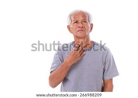sick old man, sore throat - stock photo