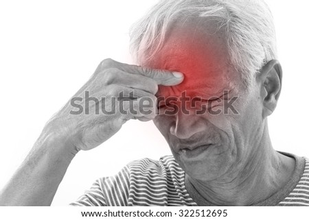 sick old man suffering from headache, migraine with red alert accent - stock photo