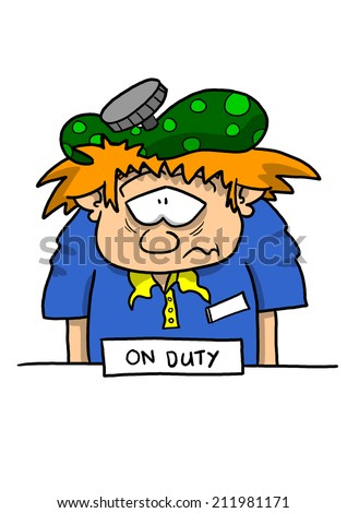 Sick on duty employee at counter light skin - stock photo