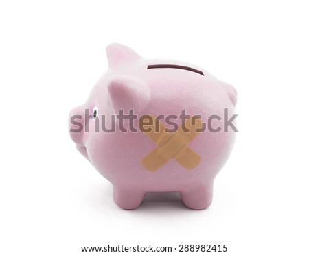 Sick piggy bank with clipping path  - stock photo