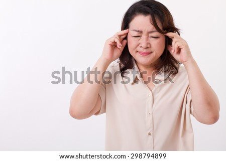 sick, stressed woman suffering from headache, migraine - stock photo