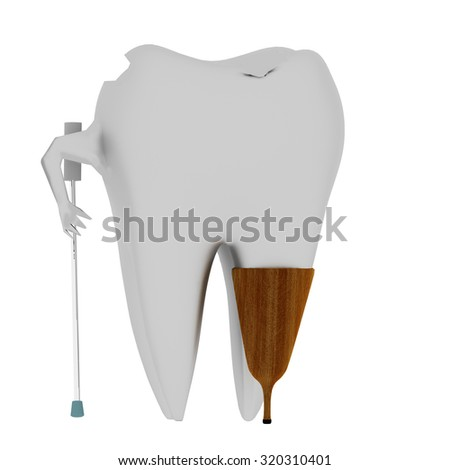 Sick tooth with wooden prosthesis - stock photo