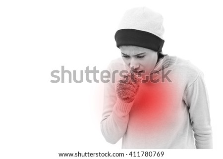 sick woman coughing - stock photo