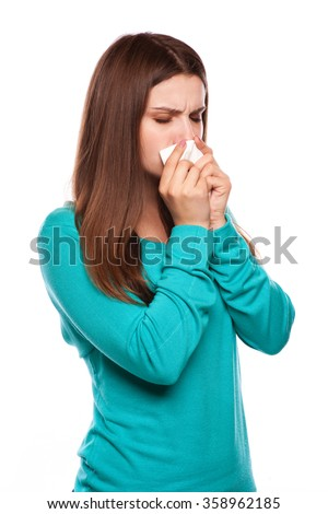 Sick Woman.Flu.Woman Caught Cold. Sneezing into Tissue. Headache. Virus .Medicines  - stock photo