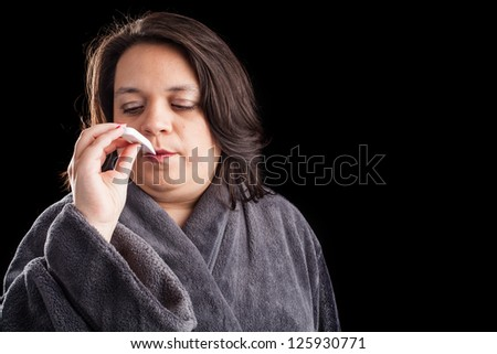 Sick woman on black background with space for custom text